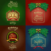 Four Vintage Christmas Cards — Stock Vector