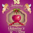 Poster Valentine heart decorated and cupids — Διανυσματικό Αρχείο