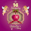 Valentine heart decorated and cupids — Vector de stock