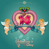 Heart Valentine and cupids — Vecteur
