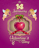 Poster Valentine heart decorated and cupids — Vettoriale Stock