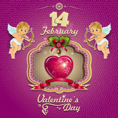 Valentine heart decorated and cupids — Vetorial Stock