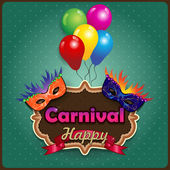 Carnival masks with label — Stock Vector