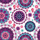 Mandala floral pattern and butterflies — Vector de stock