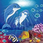 Delfini sul fondo del mare — Vettoriale Stock
