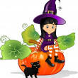 Witch girl with cat sitting on pumpkin — Stock Vector #48931765
