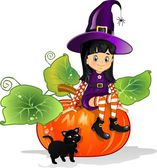 Witch girl with cat sitting on pumpkin — Stock Vector