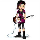 Punk girl with electric guitar — Stock Vector