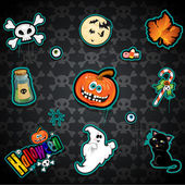 Set seamless Halloween background — Stock Vector