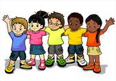 Children joined in the world — Stock Vector