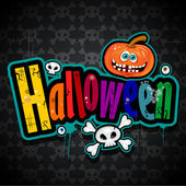 Happy Halloween background with skulls — Stock Vector