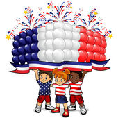 American flag balloons with children — Stock Vector