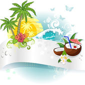 Banner and tropical coconut — Stock Vector