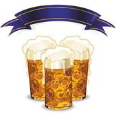 Beer mugs and banner — Stockvektor