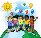 Children united world of peace — Stock Vector