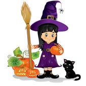 Girl witch with cat, pumpkins — Stock Vector