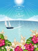 用小船的热带风景 — 图库矢量图片