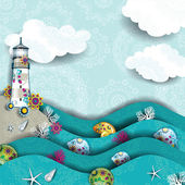 Lighthouse on the sea decorated — Stock Vector