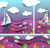 Set landscape lighthouse and boat decorated — Stockvector