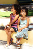 Two little girls smiling — Stock Photo