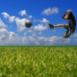 Boy playing soccer - clipping path - Foto de Stock