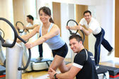 Woman on vibration plate in a gym instructed by her personal tra — Stock Photo