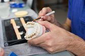 Closeup of a dental technician applying porcelain to a mold — Stock Photo
