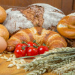 Постер, плакат: Tomato different types of bread and bakery products
