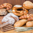 Different types of bread and bakery products — Stock Photo