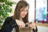 Hairstylist cutting customers hair — Stock Photo