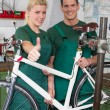 Bicycle mechanic and apprentice repairing a bike — Stock Photo