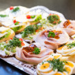 Sandwiches with cold cuts at a buffet — Stock Photo