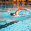 Stock Photo: Mswims front crawl style in swimming pool