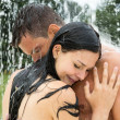 Couple in water park — Stock Photo