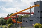 Water slide tube at public swimming pool — Foto de Stock