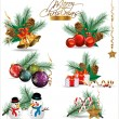 Set of Christmas and New Year's decoration elements isolated on a white background. — 图库矢量图片