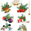 Set of Christmas and New Year's decoration elements isolated on a white background. — Stock Vector