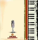 Jazz background with old microphone — Stock Vector