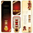 Elegant Banners with ribbons and golden medallions. Vector set - Stok Vektr