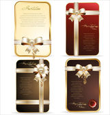 Gift card with white and gold ribbon, background — Stockvektor