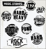 Music grunge rubber stamps — Stock Vector