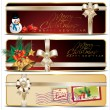 Christmas banner set with white ribbon - Stock Vector