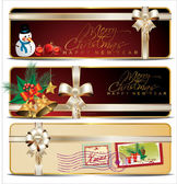 Christmas banner set with white ribbon — Vecteur