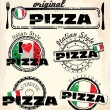 Set of vintage styled pizza labels - Stok Vektör