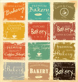 Collection of vintage retro grunge food labels — Stock Vector