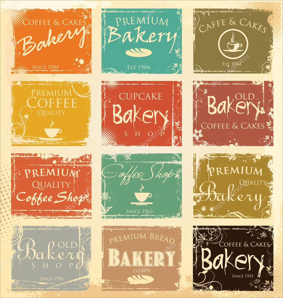Collection of vintage retro grunge food labels — Stock Vector ...