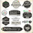 Pizza retro labels — Stock Vector
