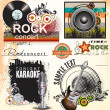 Grunge music banner set — Stock Vector