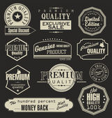 Set of vector badges, labels and ribbons — Stock Vector