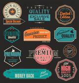 Verzameling van vector kentekenen, etiketten en linten — Stockvector